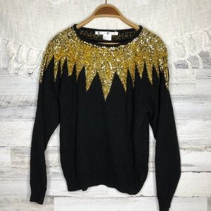 Vintage wool angora black gold sequin sweater
